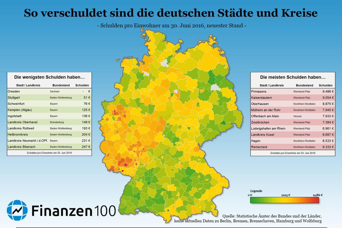 So Verschuldet Sind Deutschlands Städte Und Landkreise verwandt mit Landeshauptstädte Deutschland Liste
