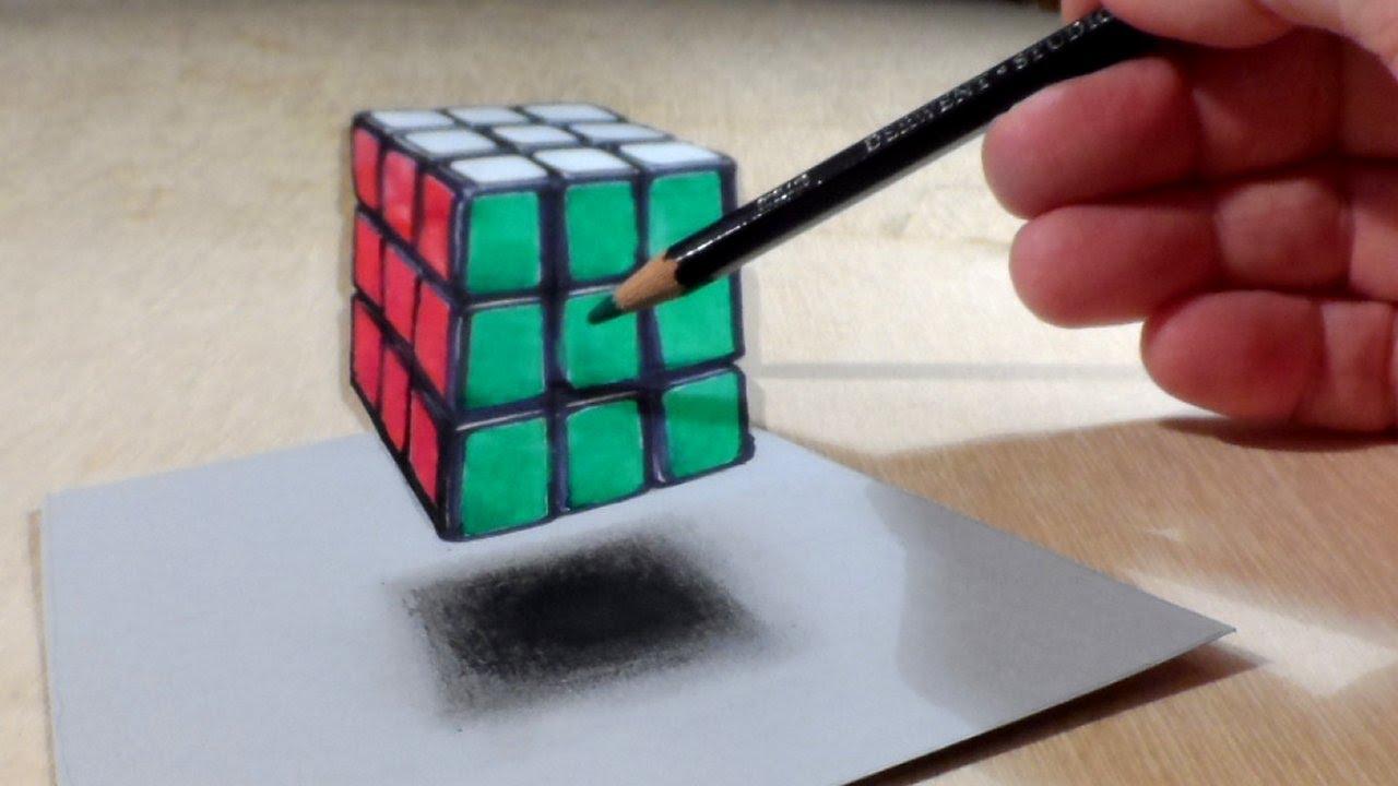 So Wird´s Gemacht. Schwebender Würfel – 3D Zeichnung – Video bestimmt für 3D Würfel Zeichnen