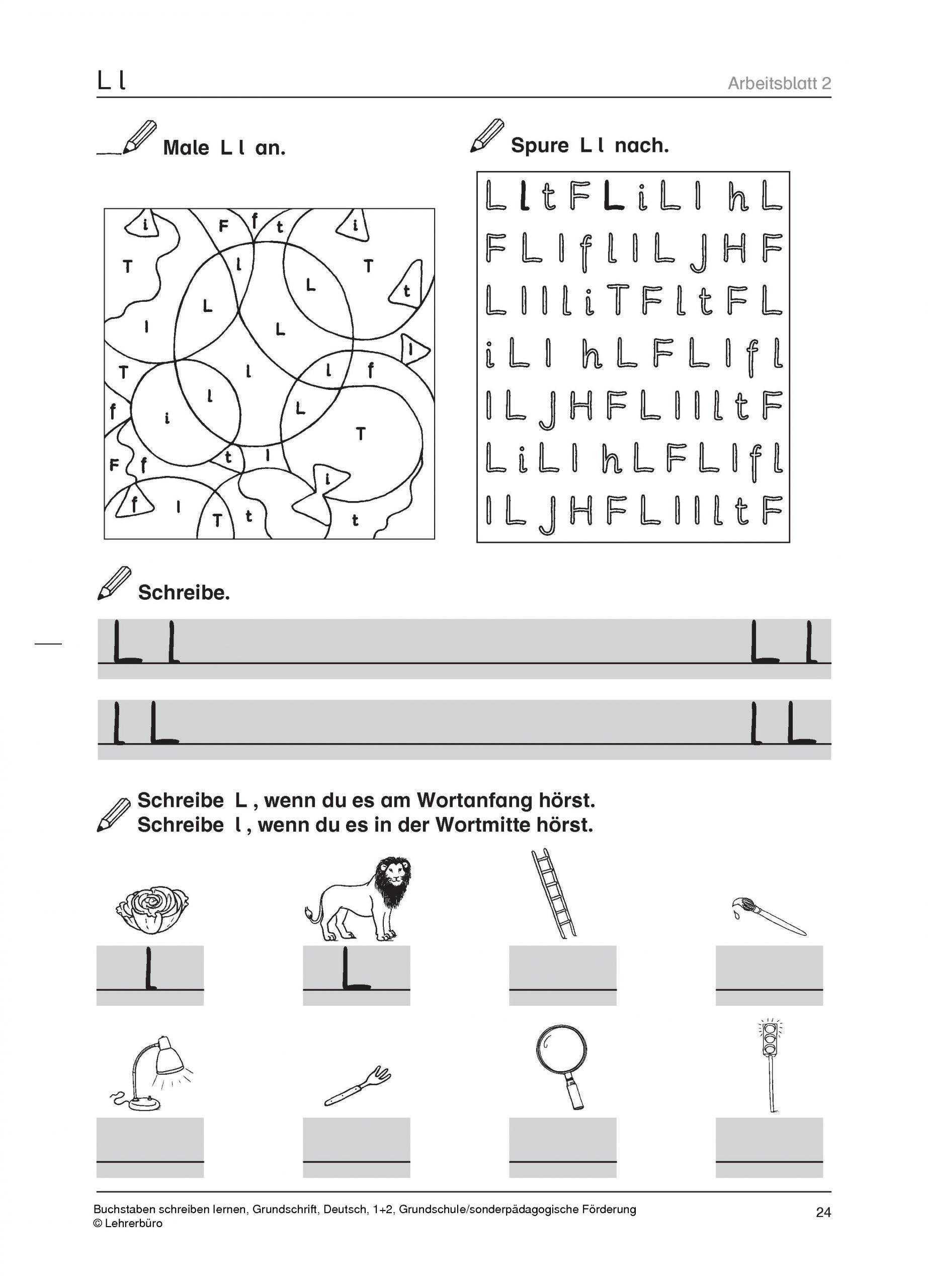 Sopäd Unterrichtsmaterial Deutsch Schreiben Buchstaben ganzes Grundschrift Arbeitsblätter