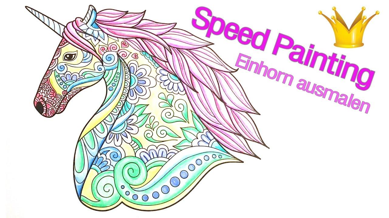 Speed Painting: Einhorn Mandala Ausmalen mit Mandala Einhorn