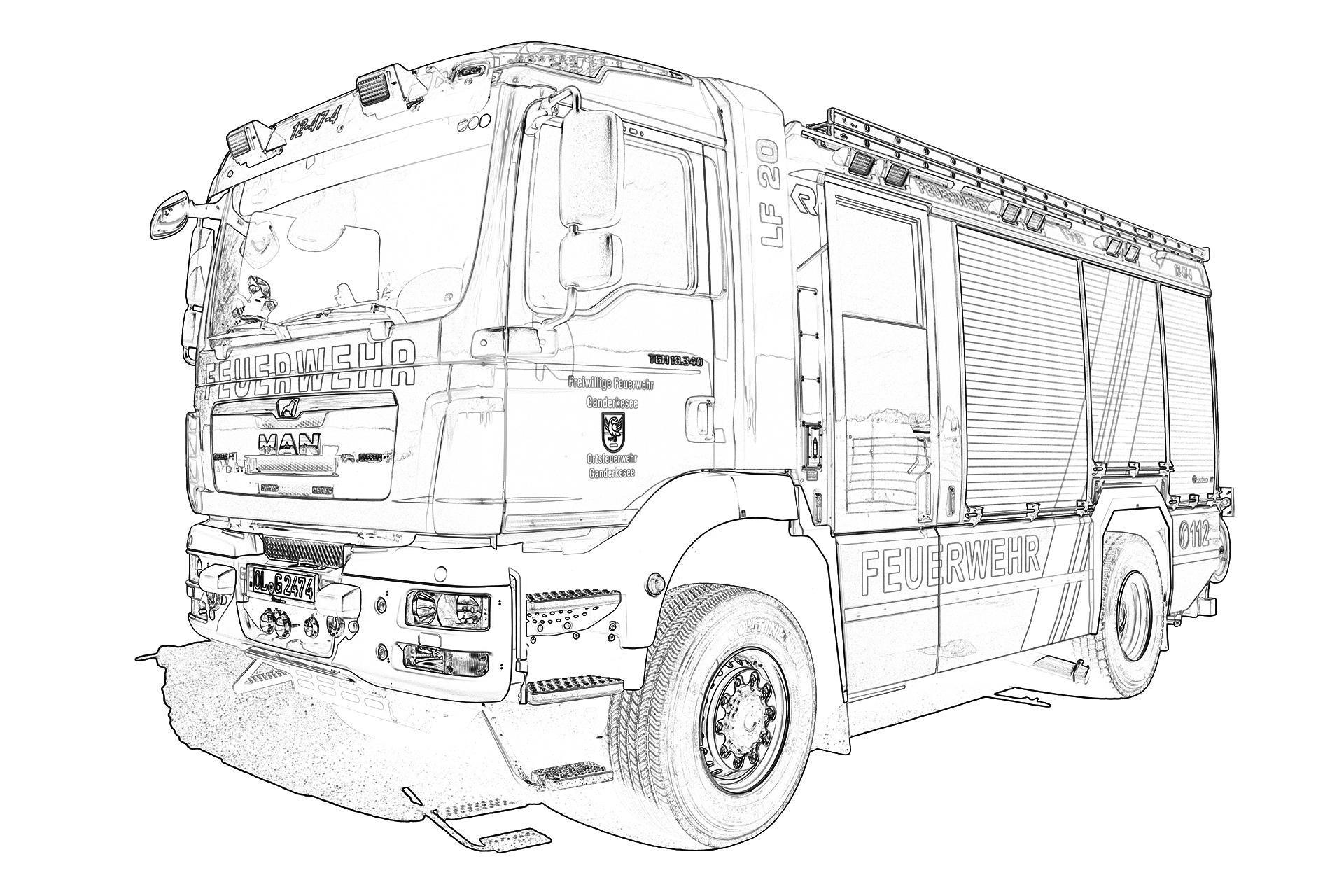 Spiel Und Spaß mit Feuerwehr Bilder Zum Ausmalen