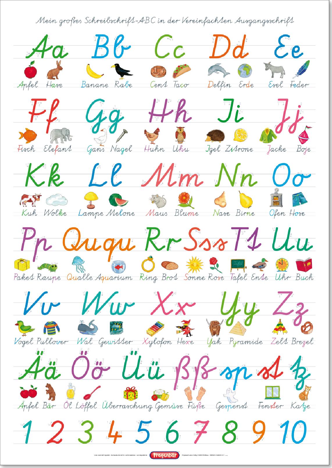 Spielend Lernen Verlag - Fragenbär - Lernposter, Das Abc Mit innen Alphabet Schreibschrift Grundschule