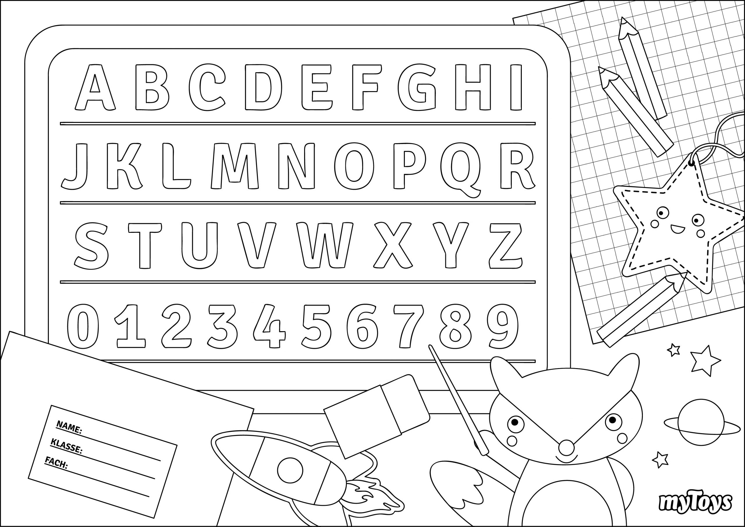 Spielerisch Lernen - Ausmalbilder Buchstaben für Buchstaben Ausdrucken