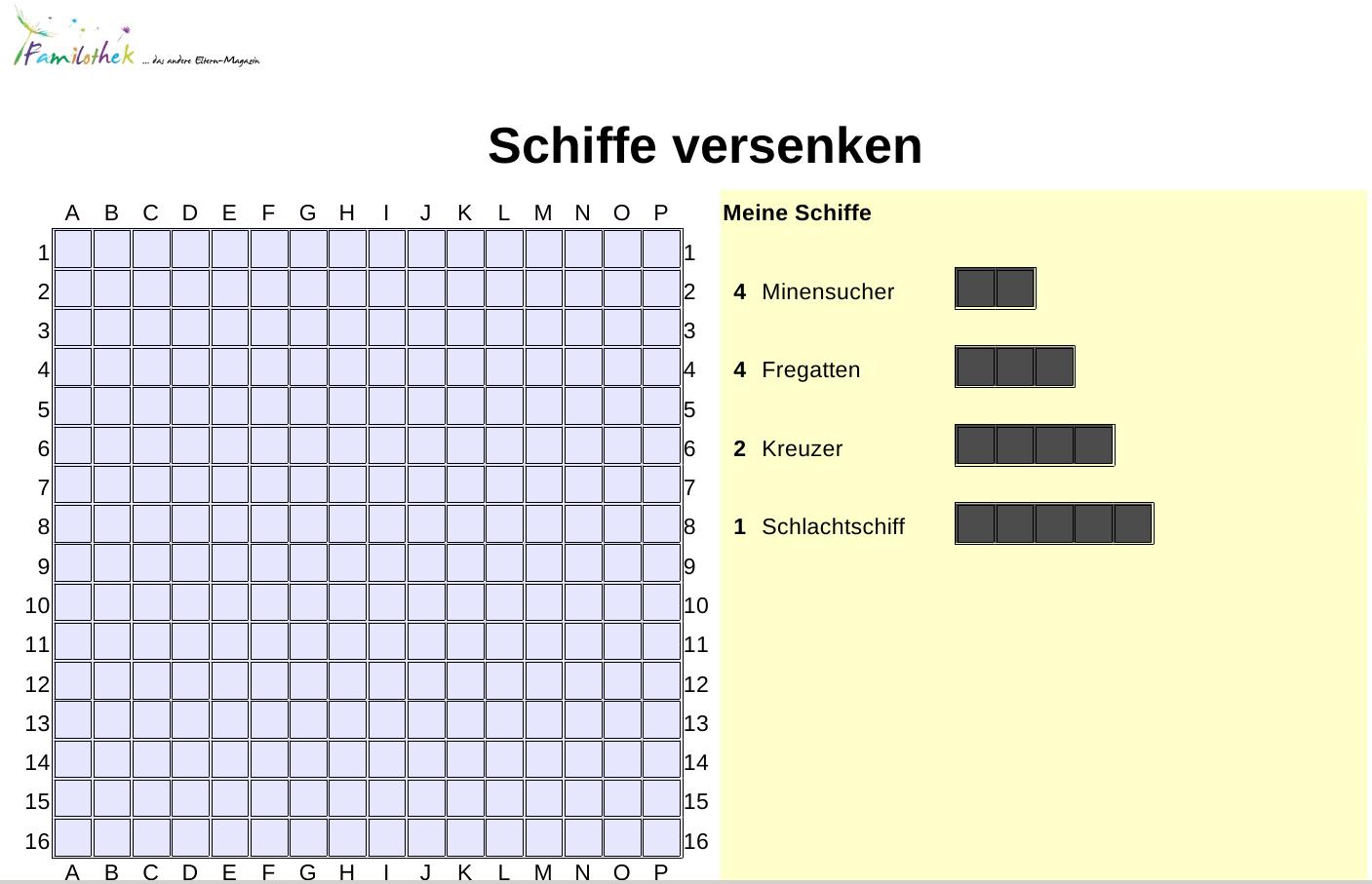 Spielvorlagen Schiffe Versenken - Familothek in Spiel Schiffe Versenken