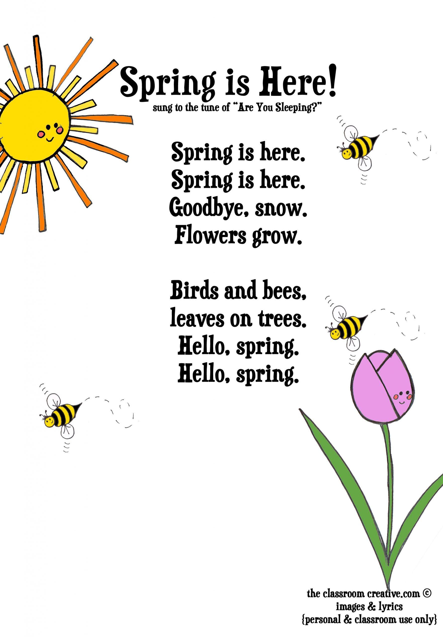 Spring Activities: Free Spring Poem For Kids. | Lieder Für ganzes Frühlingsgedichte Für Kindergartenkinder