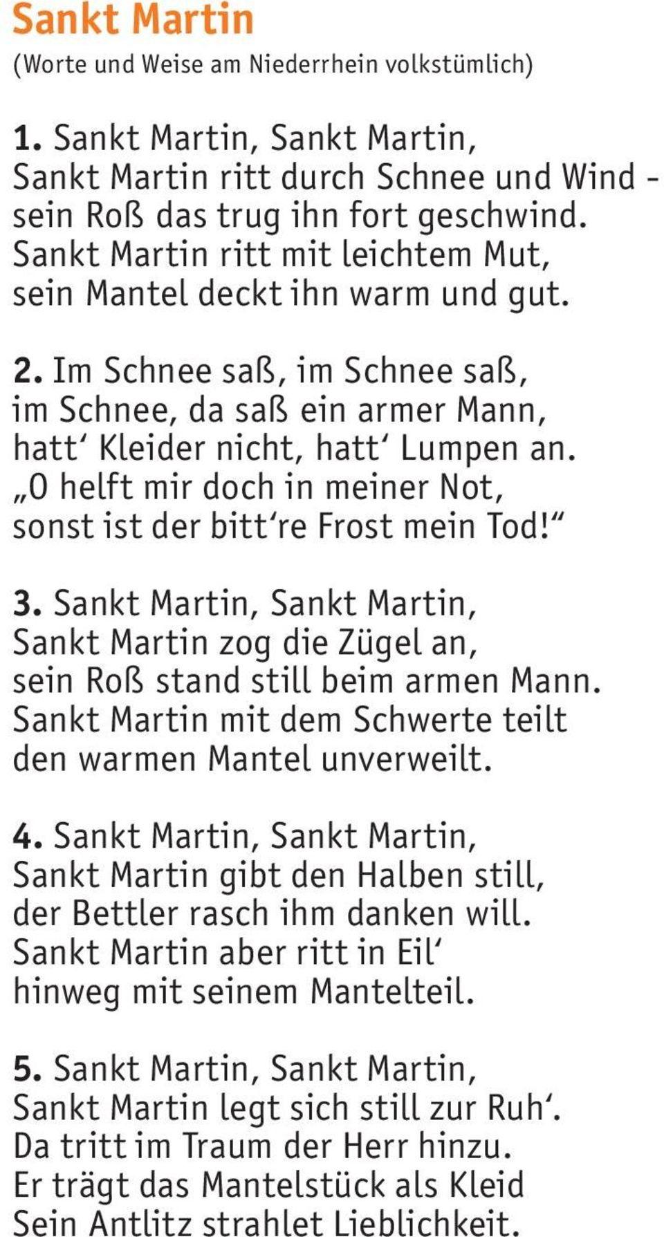 St. Martin Liederheft - Pdf Free Download für St Martin Ritt Durch Schnee Und Wind Text