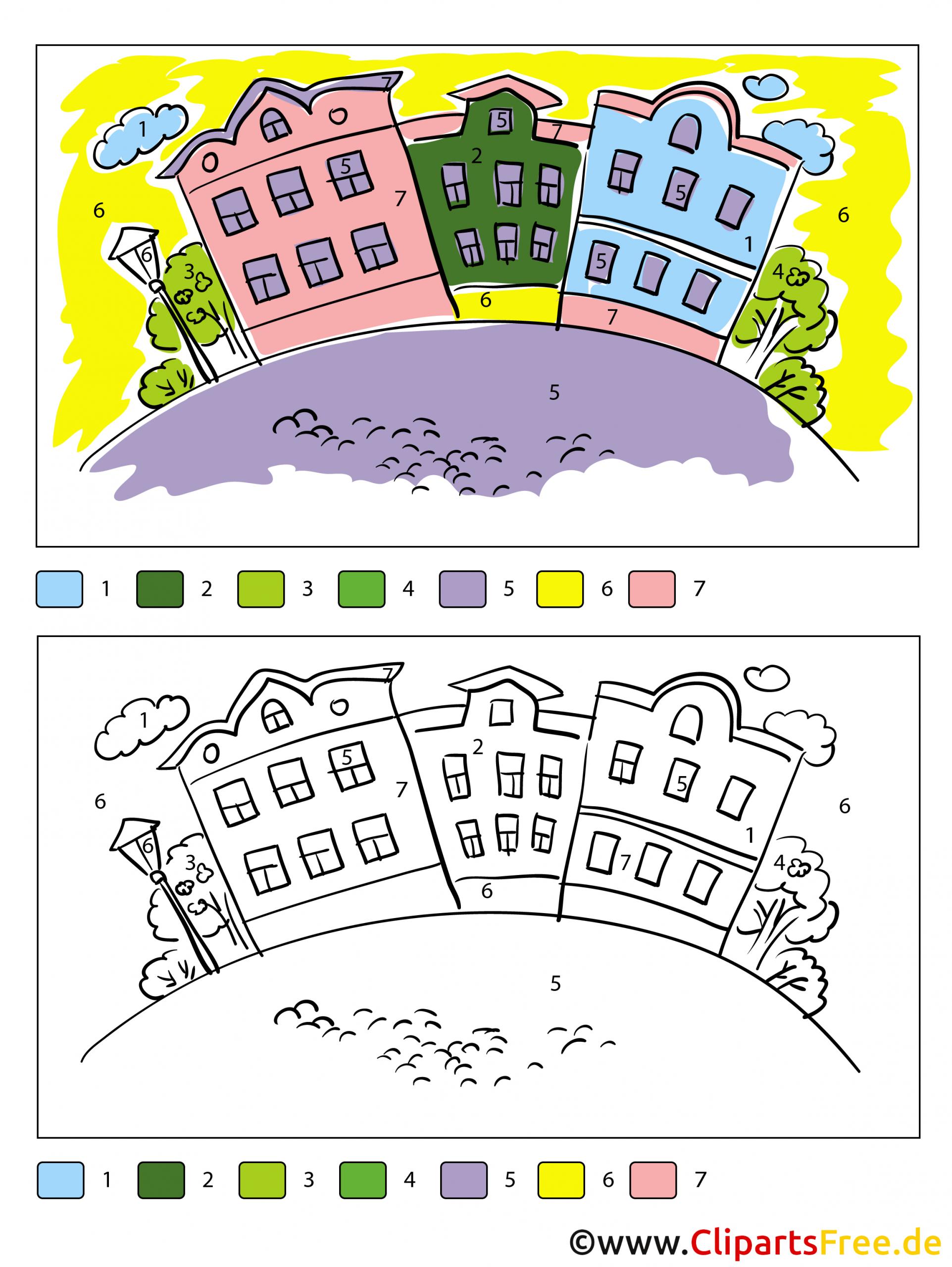 Stadt Ausmalbild Malen Nach Zahlen Kostenlos bei Malen Nach Zahlen Kostenlos Ausdrucken
