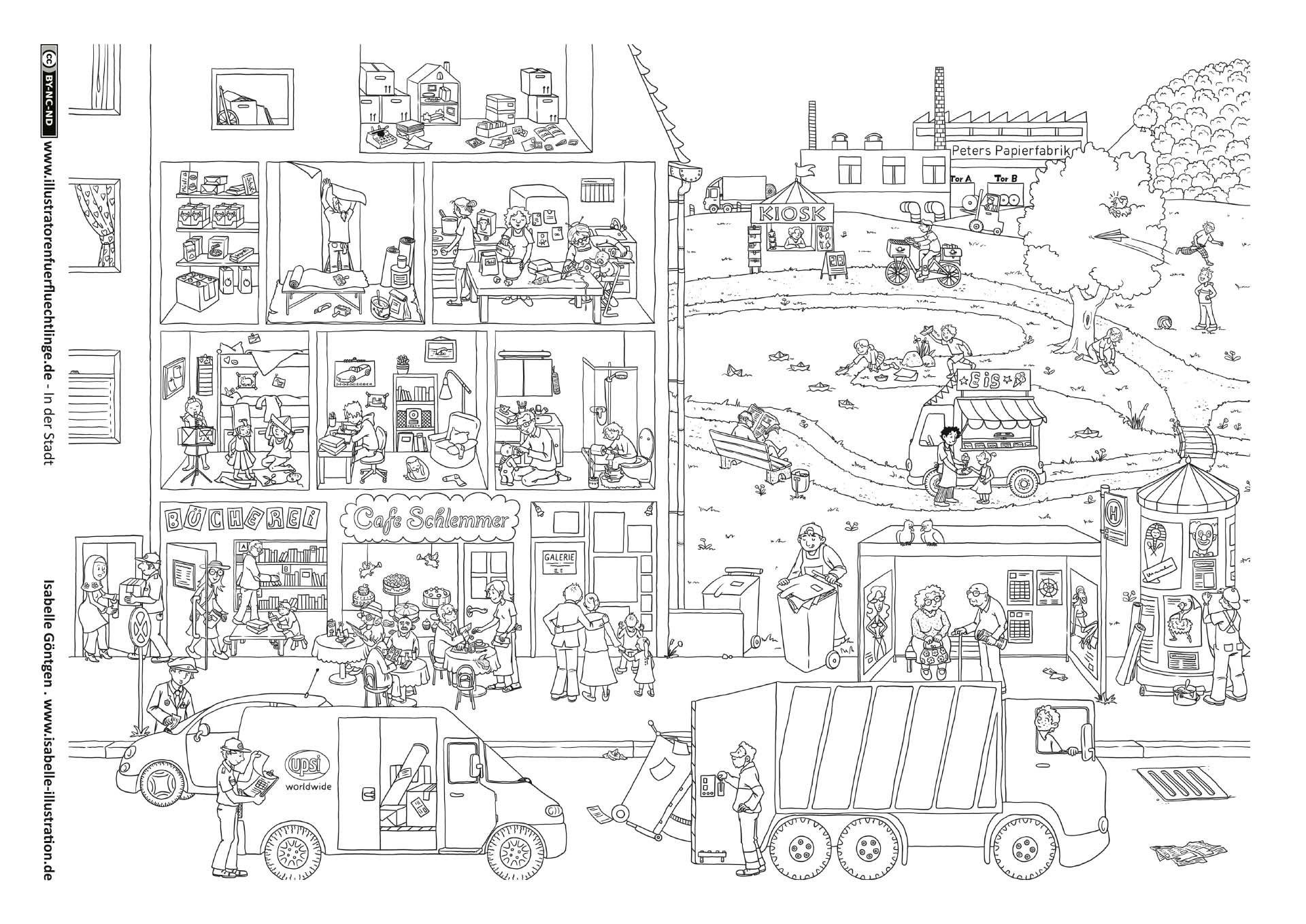 Stadt Wimmelbild In 2020   Wimmelbild, Malbuch Vorlagen bei Suchbilder Ausdrucken