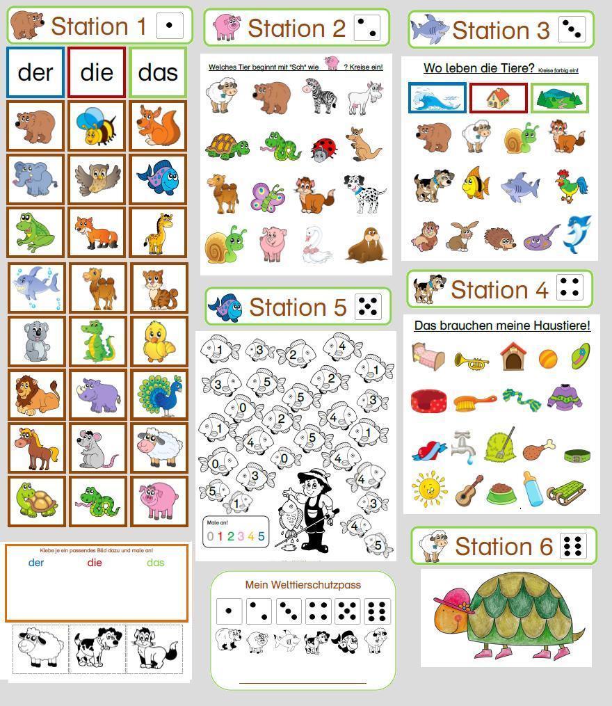 Stationsbetrieb Tiere Welttierschutztag – 1. Klasse Fächerübergreifend ganzes Tiere Mit Anfangsbuchstaben A