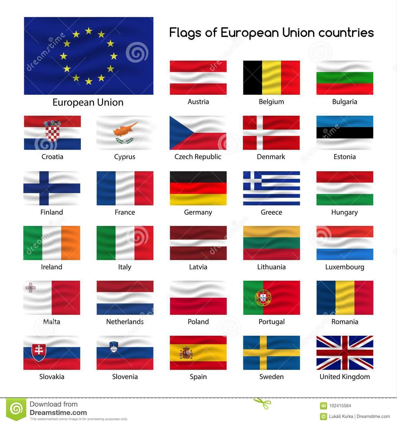 Stellen Sie Die Flaggen Von Ländern Der Europäischen innen Flaggen Der Eu Länder