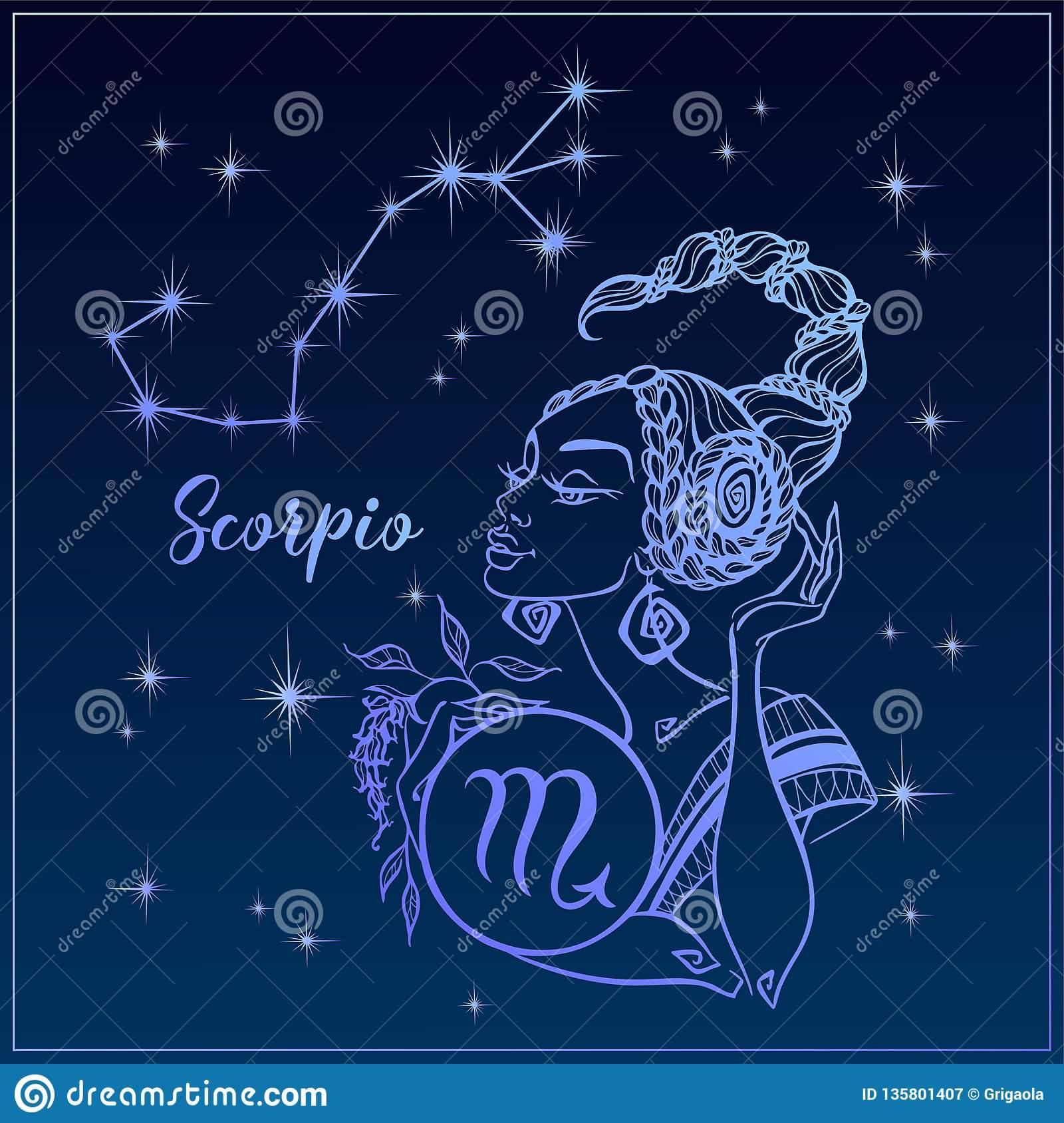 Sternzeichen-Skorpion Als Schönes Mädchen Die Konstellation mit Skorpion Sternzeichen Bilder