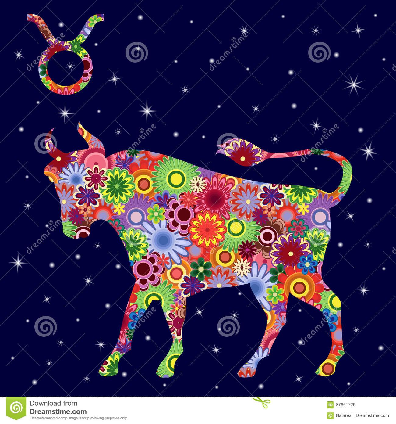 Sternzeichen-Stier Mit Blumen Füllen Über Sternenklaren für Bilder Sternzeichen Stier