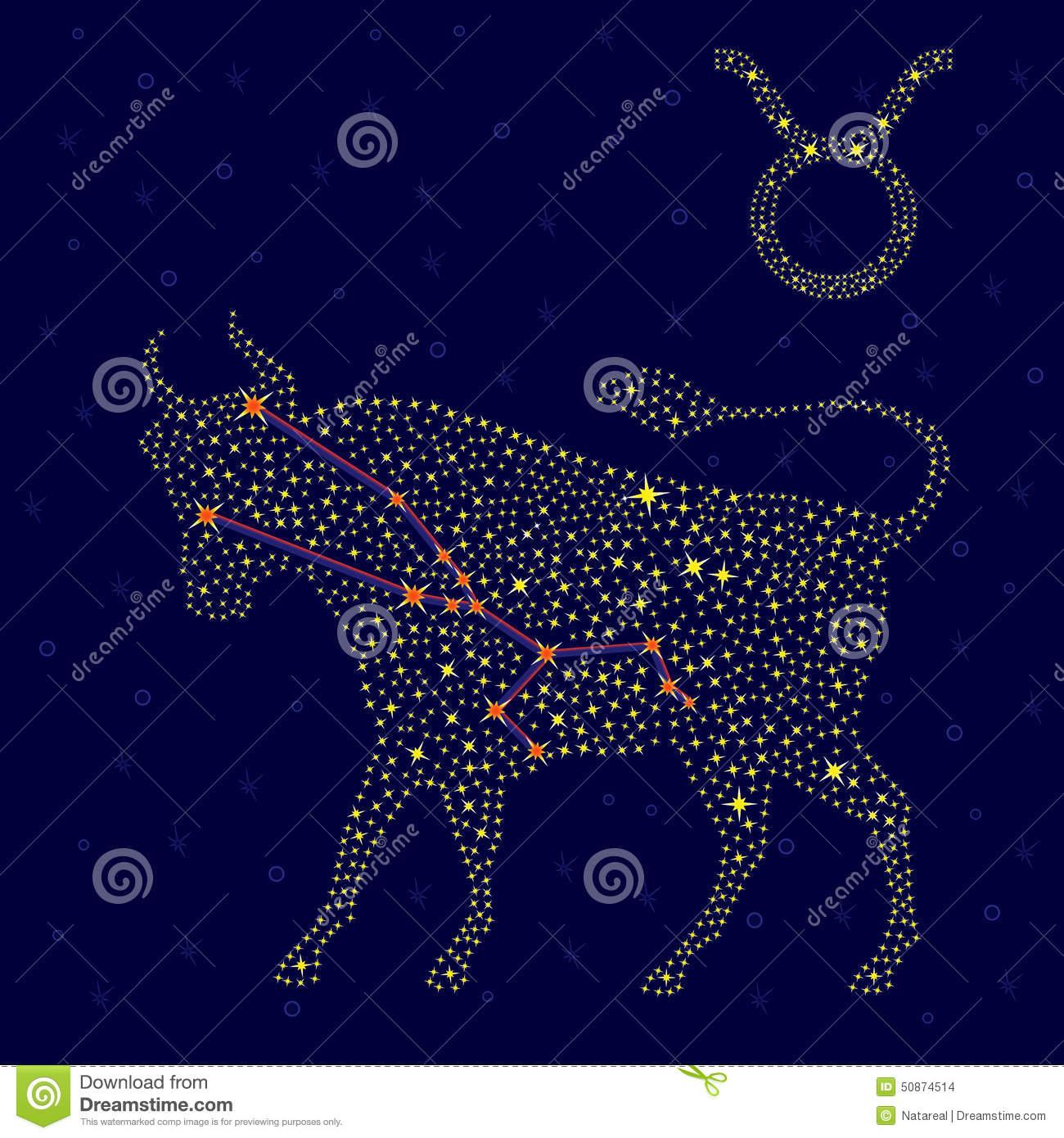 Sternzeichen-Stier Über Sternenklarem Himmel Stock Abbildung mit Bilder Sternzeichen Stier