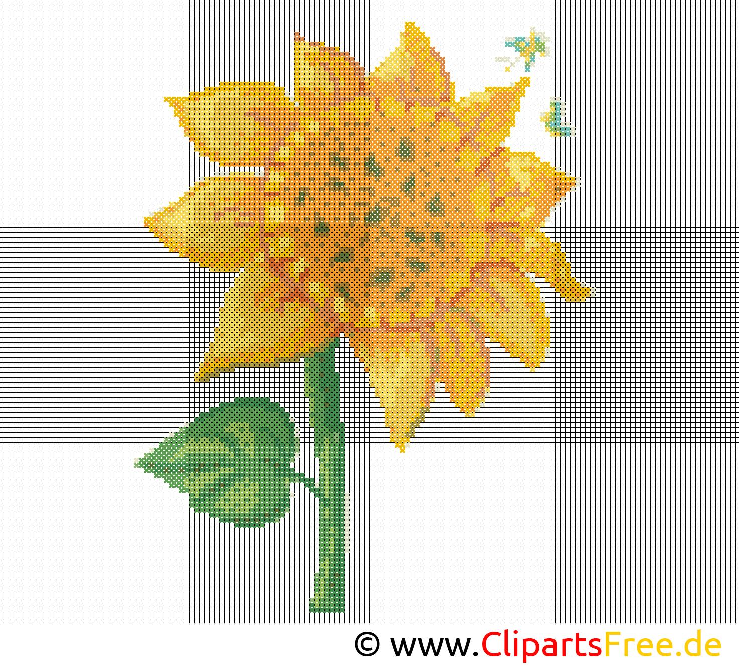 Stickvorlage Sonnenblume - Stickbilder Vorlagen Zum Ausdrucken verwandt mit Stickbilder Vorlagen Kostenlos