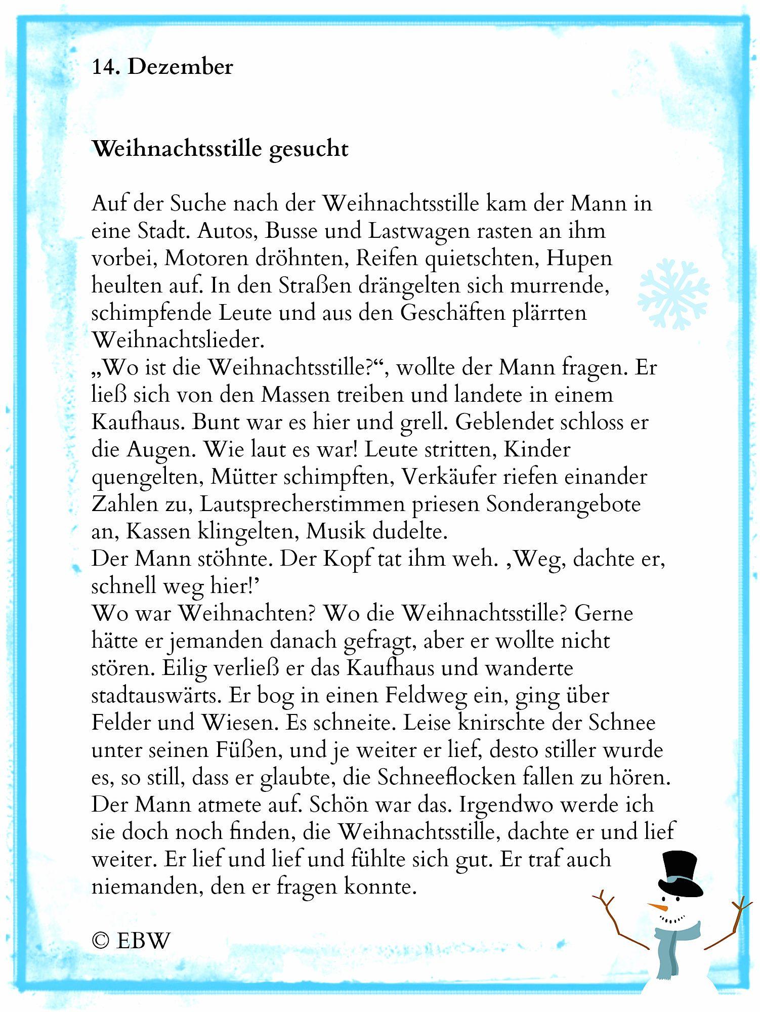 Stille Zeit – 14. Dezember   Weihnachten Geschichte innen Lustige Weihnachtsgeschichten Für Kindergartenkinder Kurz