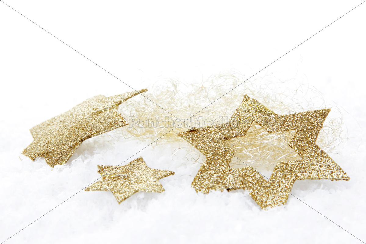 Stockfoto 10201833 - Weihnachten Goldene Weihnachtssterne Auf Kunstschnee für Goldene Weihnachtssterne