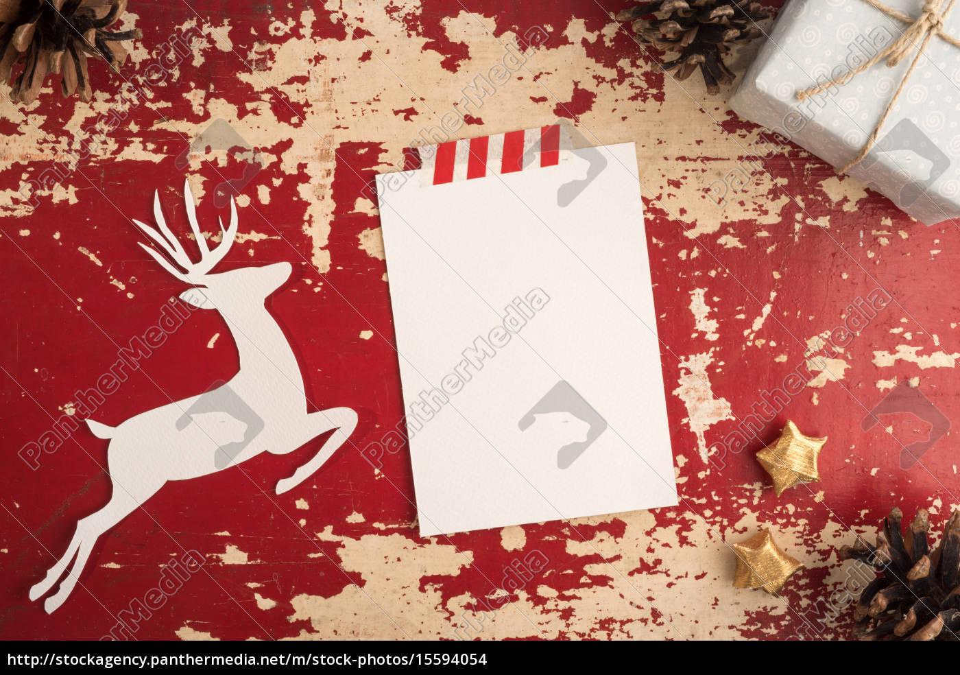 Stockfoto 15594054 - Weihnachtskarte Top View Vintage Vorlage bei Weihnachtskarte Vorlage