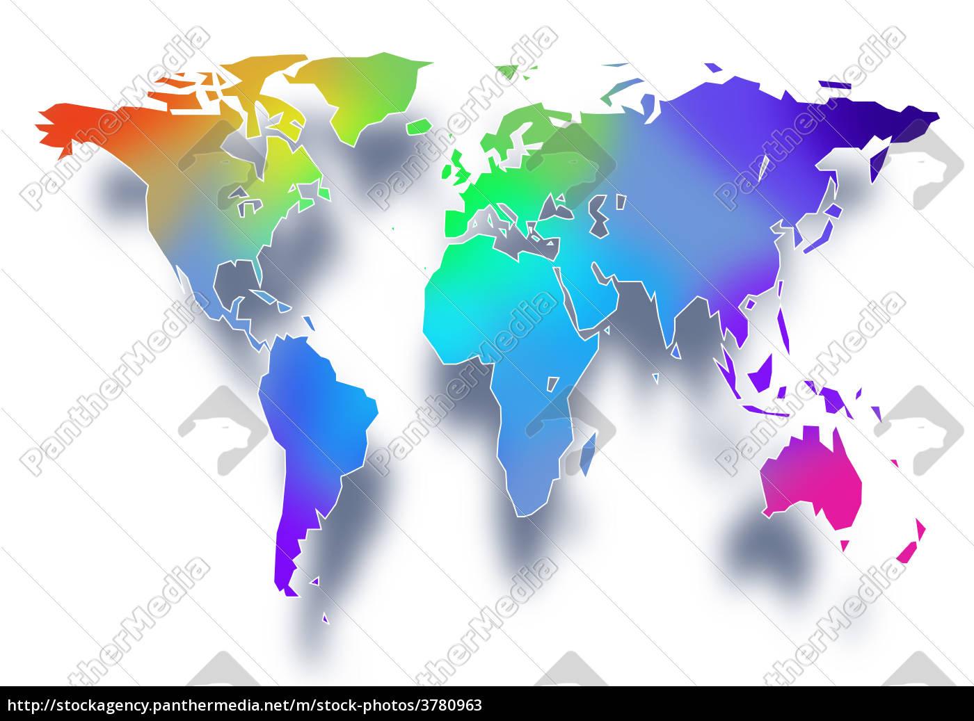 Stockfoto 3780963 - Farbige Welt Weltkarte Hintergrund in Weltkarte Farbig