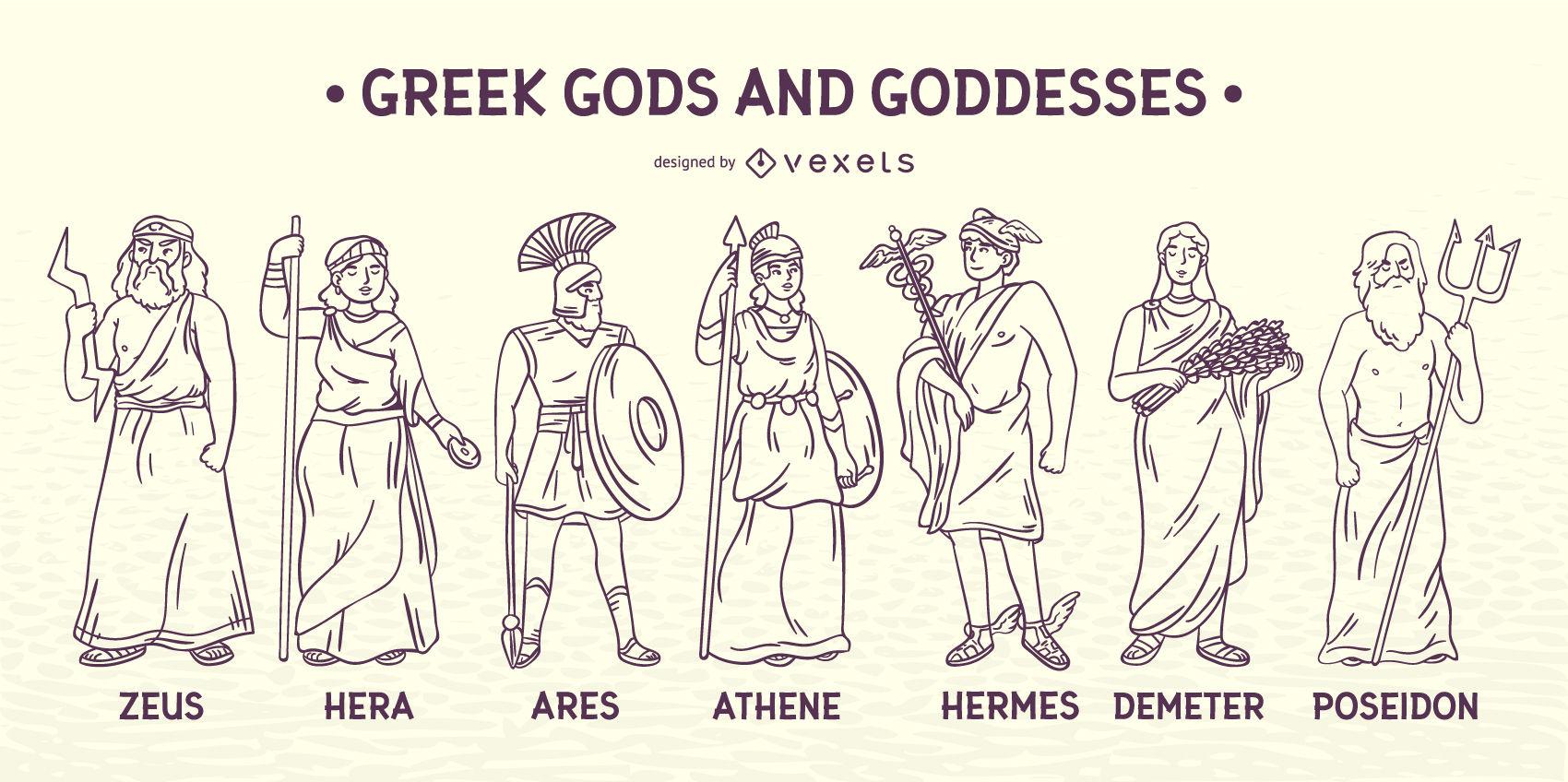 Streicheln Sie Griechische Götter Und Göttinnen - Vektor ganzes Griechische Götter Bilder Und Namen