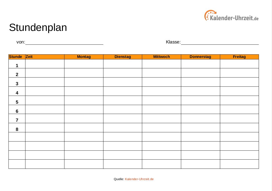 Stundenplan Vorlagen bestimmt für Stundenplan Online Erstellen Kostenlos