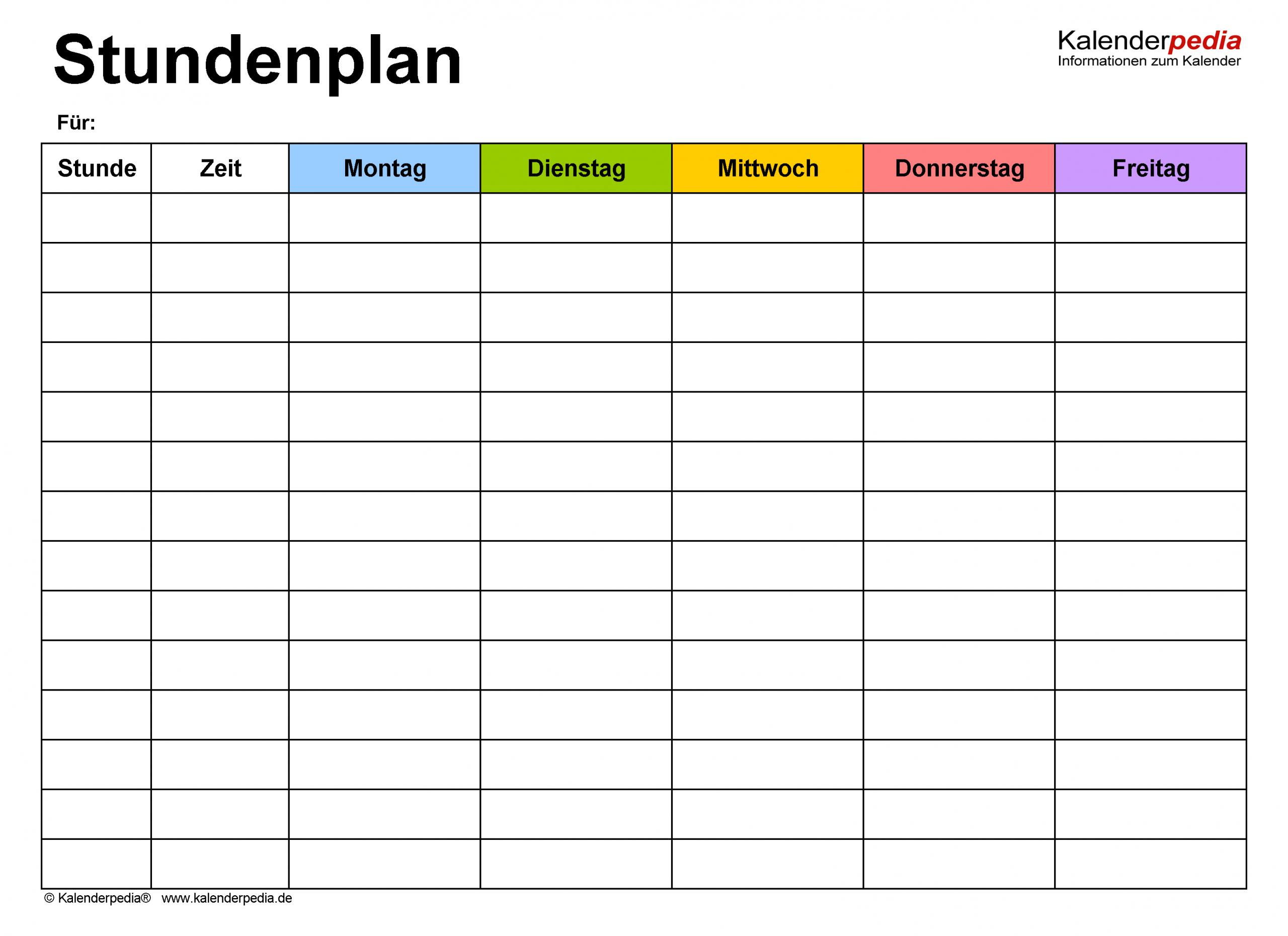 Stundenplan-Vorlagen Pdf Zum Download & Ausdrucken (Kostenlos) innen Stundenplan Zum Ausfüllen Und Ausdrucken Kostenlos