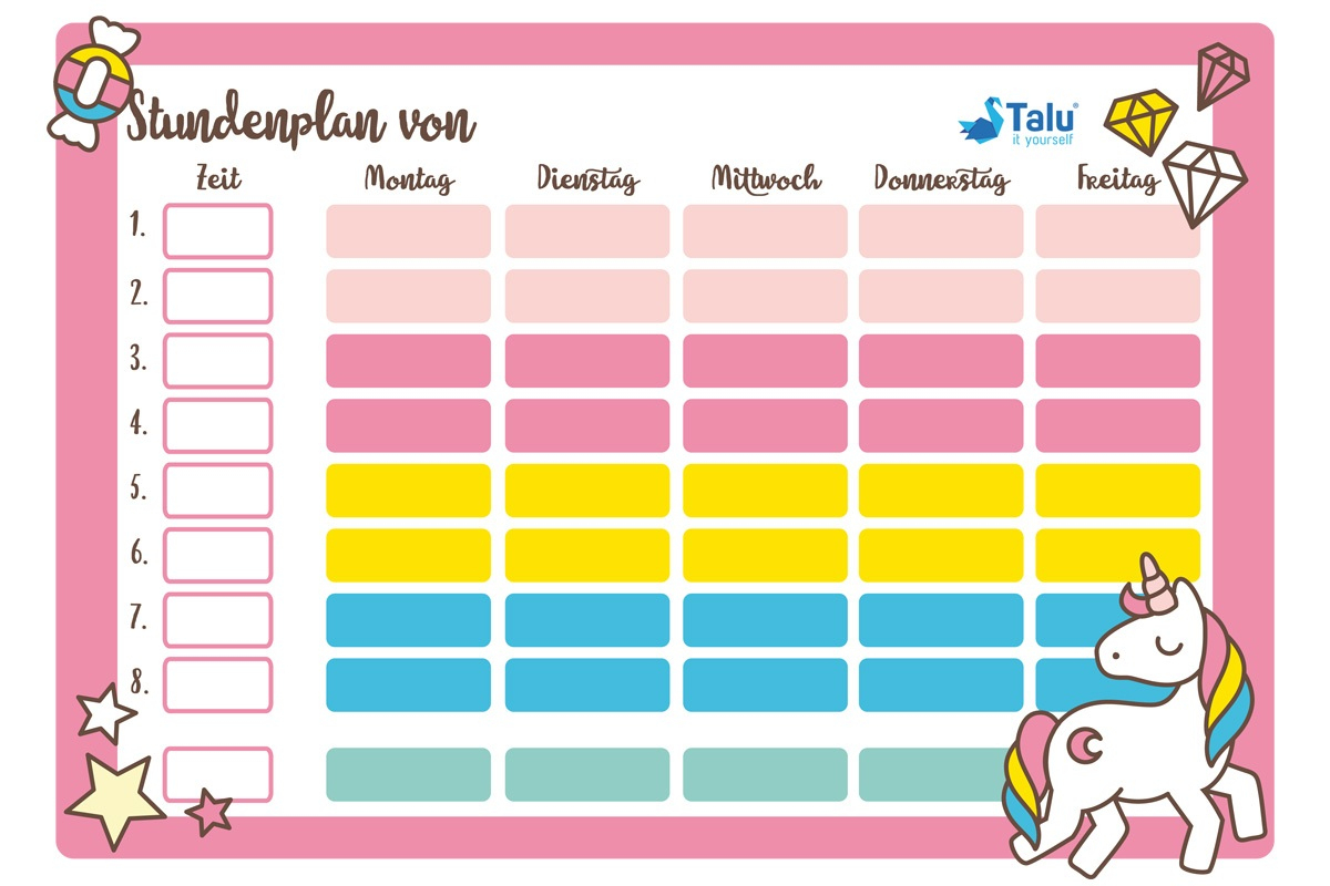Stundenplan Zum Ausdrucken - Kostenlose Pdf Vorlage - Talu.de bestimmt für Stundenplan Zum Ausfüllen Und Ausdrucken Kostenlos