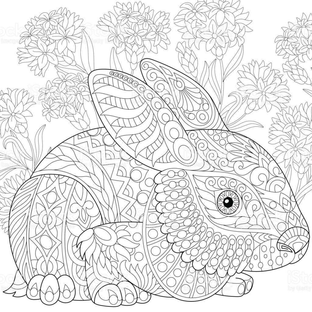 Stylized Baby Rabbit And Cornflowers. Freehand Sketch For innen Kaninchen Zum Ausmalen