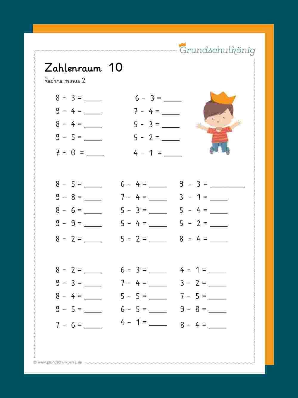 Subtraktion - für Lernblätter Mathe