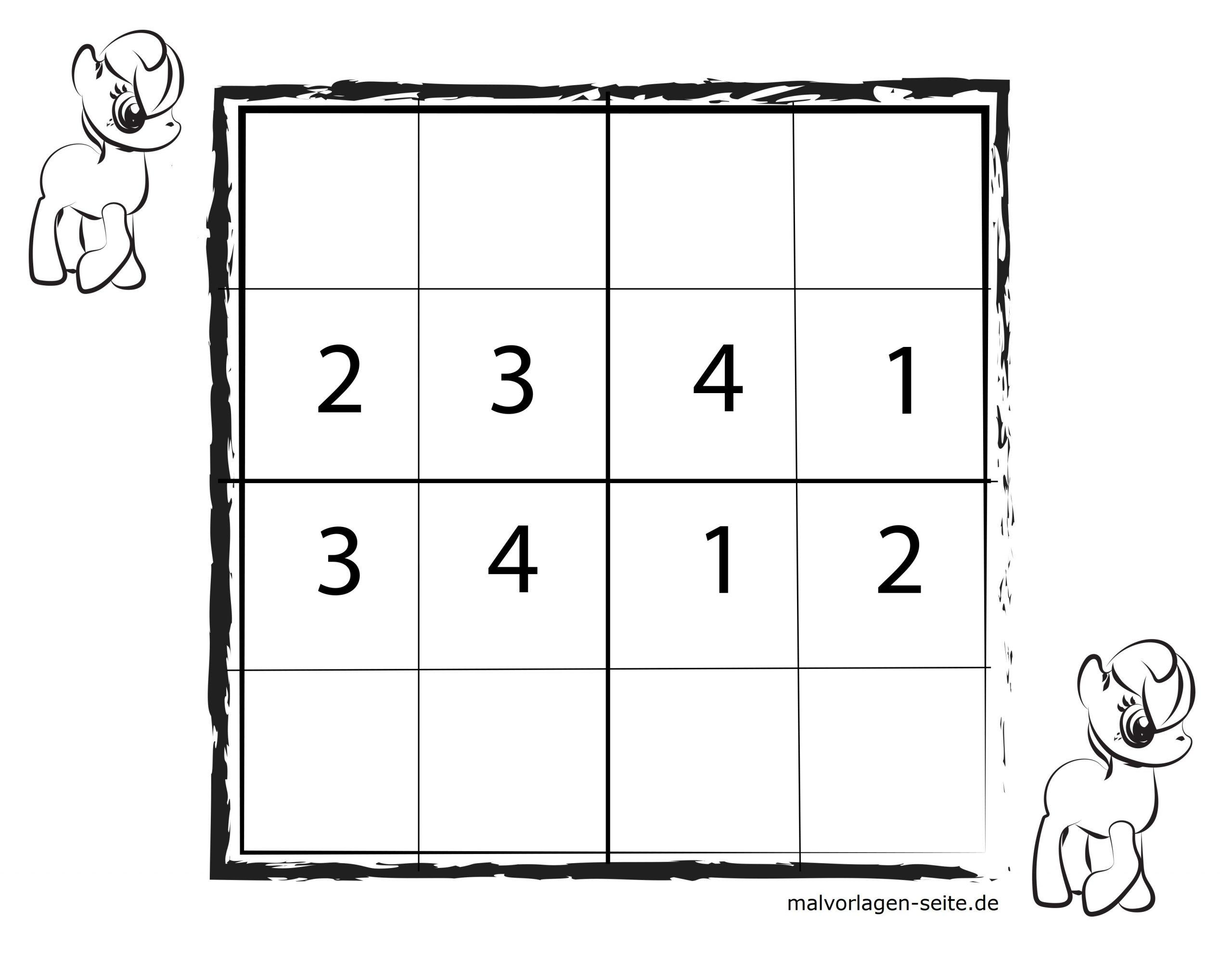 Sudoko Vorlagen Für Kinder 4X4 Kostenlos Herunderladen Und in Sudoku Kostenlos Ausdrucken