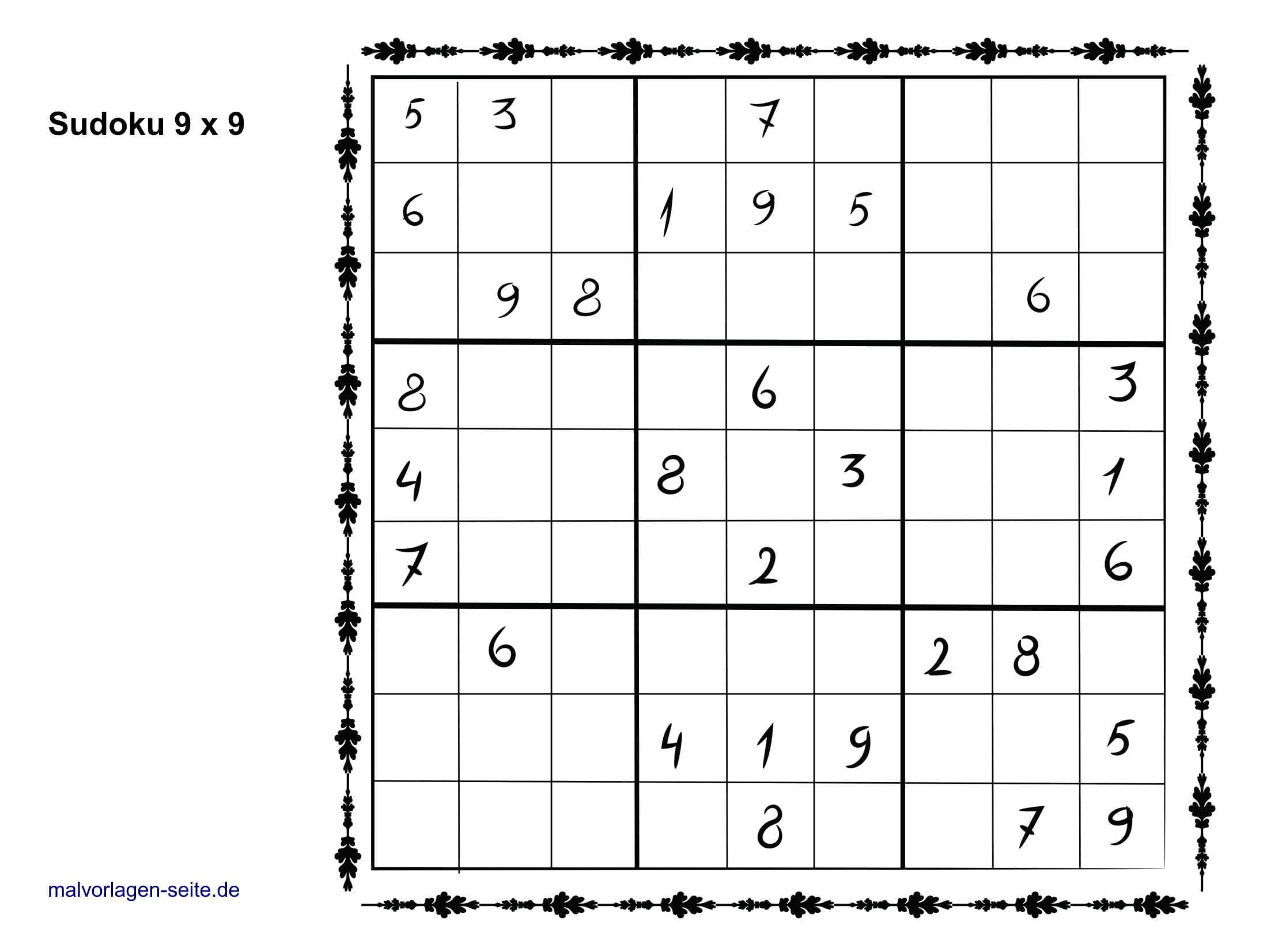 Sudoku Vorlagen 9X9 Einfach - Sudoku Vorlagen Kostenlos bei Sudoko Rätsel
