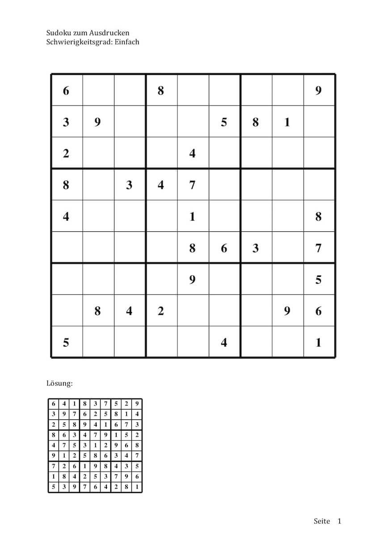Sudoku Zum Ausdrucken (Leicht, Mittel, Schwer)   Muster bestimmt für Sudoku Selber Machen