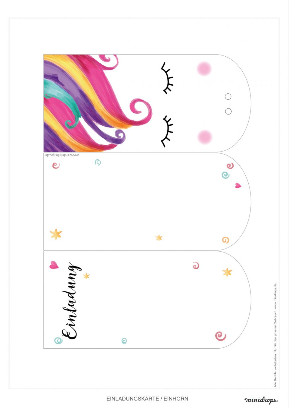 Süße Einhorn Einladungskarte Zum Ausdrucken • Minidrops in Einladungskarten Zum Ausdrucken Kinder