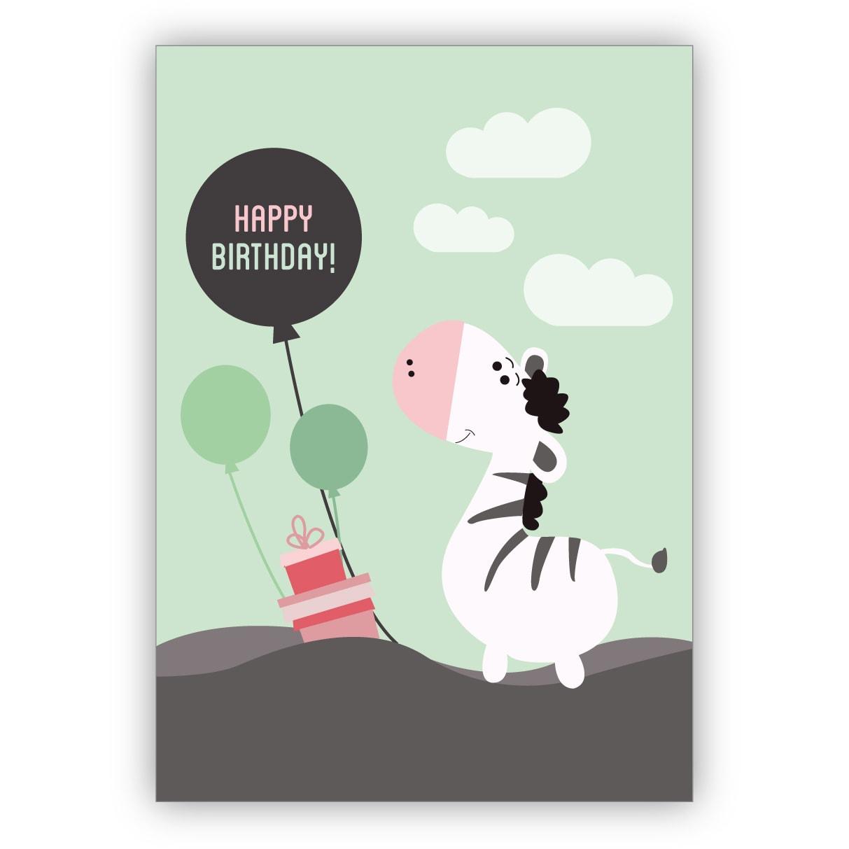 Süße Geburtstagskarte Mit Zebra Und Luftballons Nicht Nur Für Kinder: Happy  Birthday verwandt mit Geburtstagskarten Kinder