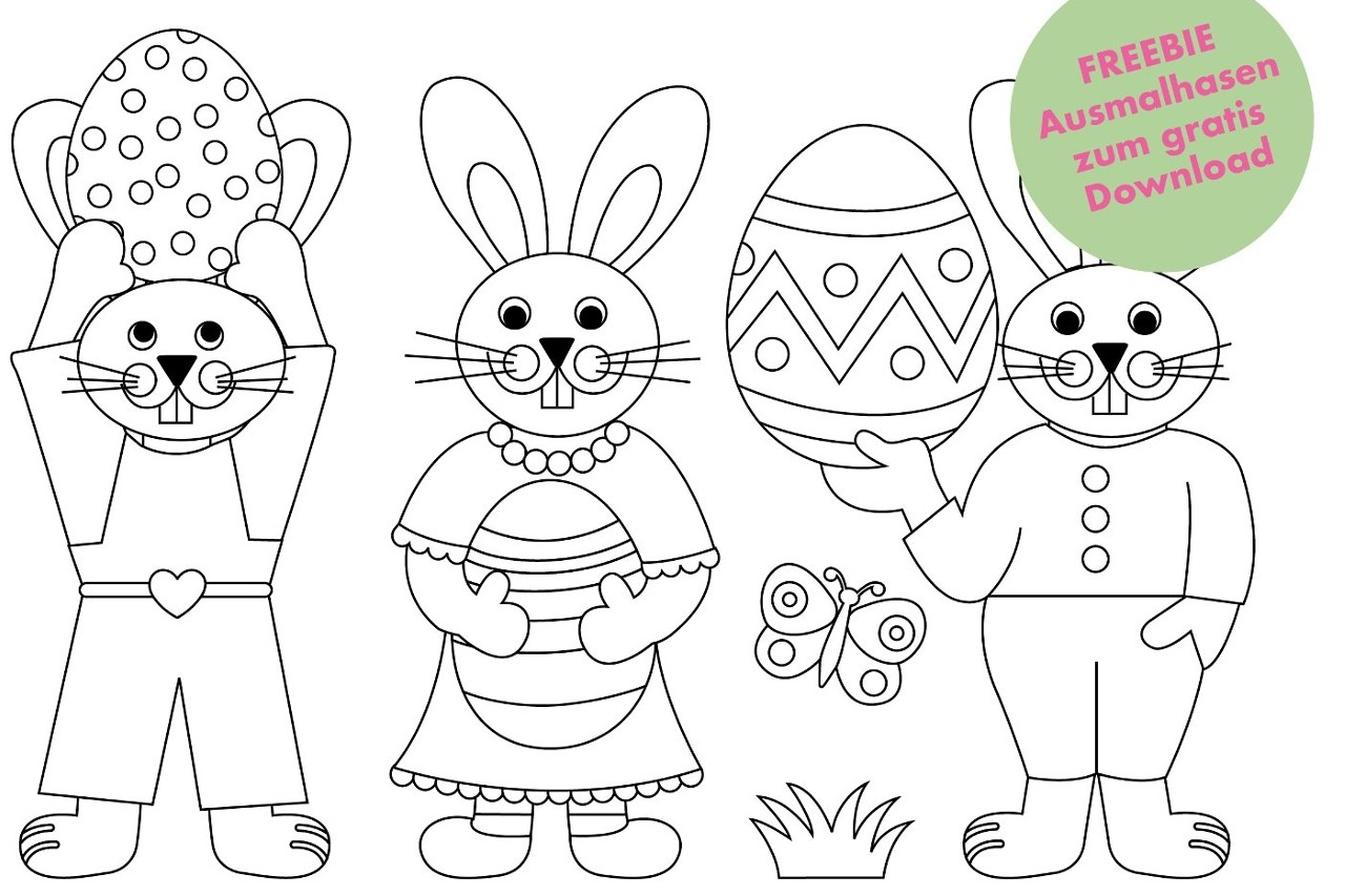 Süße Osterhäschen Zum Ausmalen - Jetzt Kostenlos für Bilder Zum Ausmalen Gratis