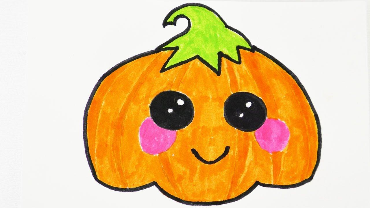 Süßen Kawaii Halloween Kürbis Zeichnen   Einladungen Und Geburtstagskarten  Verschönern für Kürbis Malen
