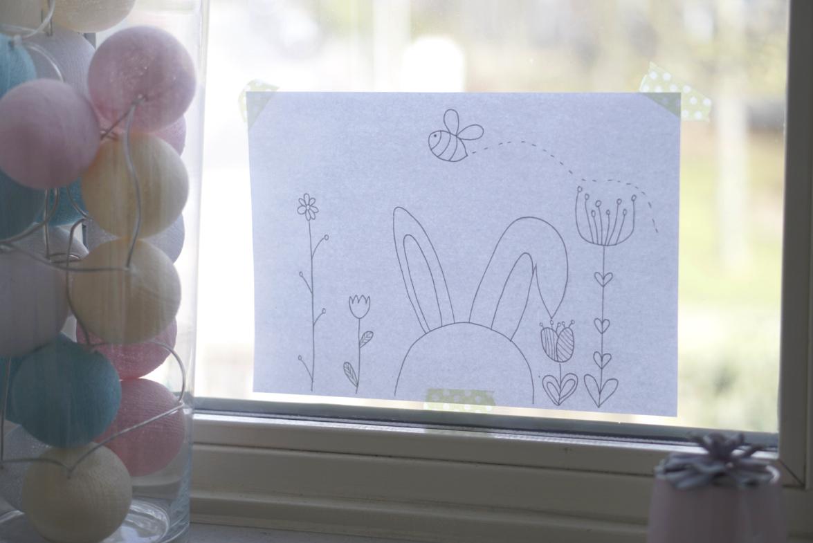 Süßes Fensterbild Zu Ostern Mit Kreidestiften Malen (Mit mit Fensterbilder Vorlagen Ostern