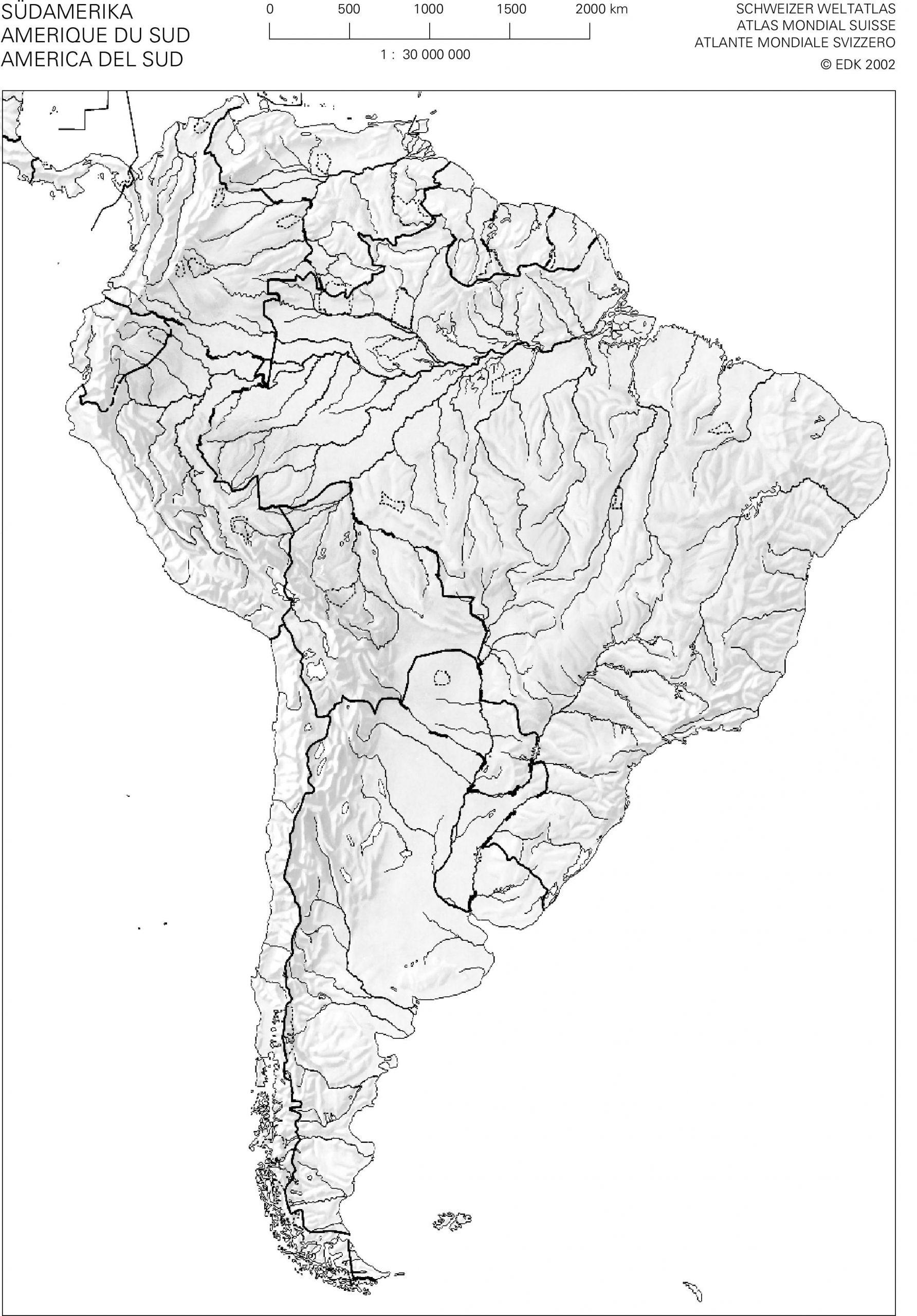 Swisseduc - Geographie - Atlas-Kopiervorlagen in Stumme Karte Südamerika
