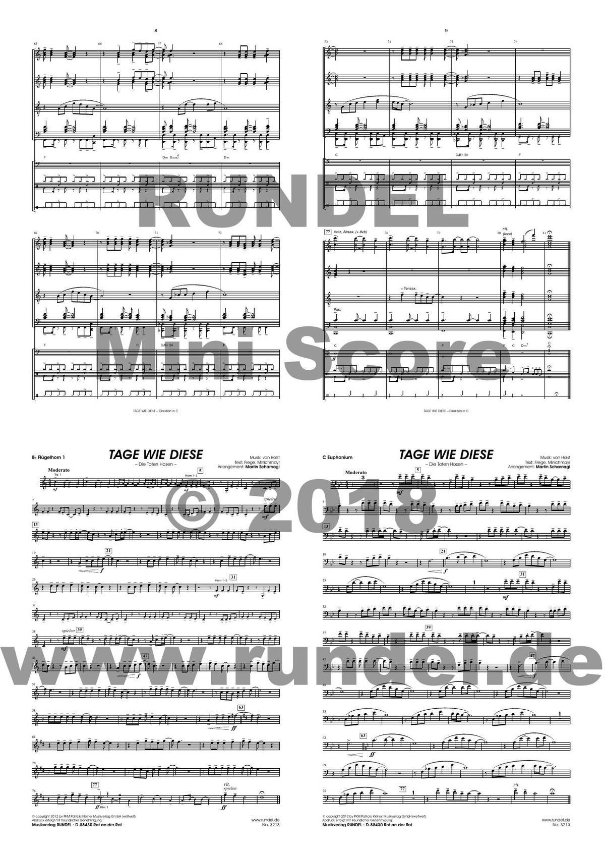 Tage Wie Diese - Die Toten Hosen (Blasorchester) verwandt mit Tage Wie Diese Noten Kostenlos