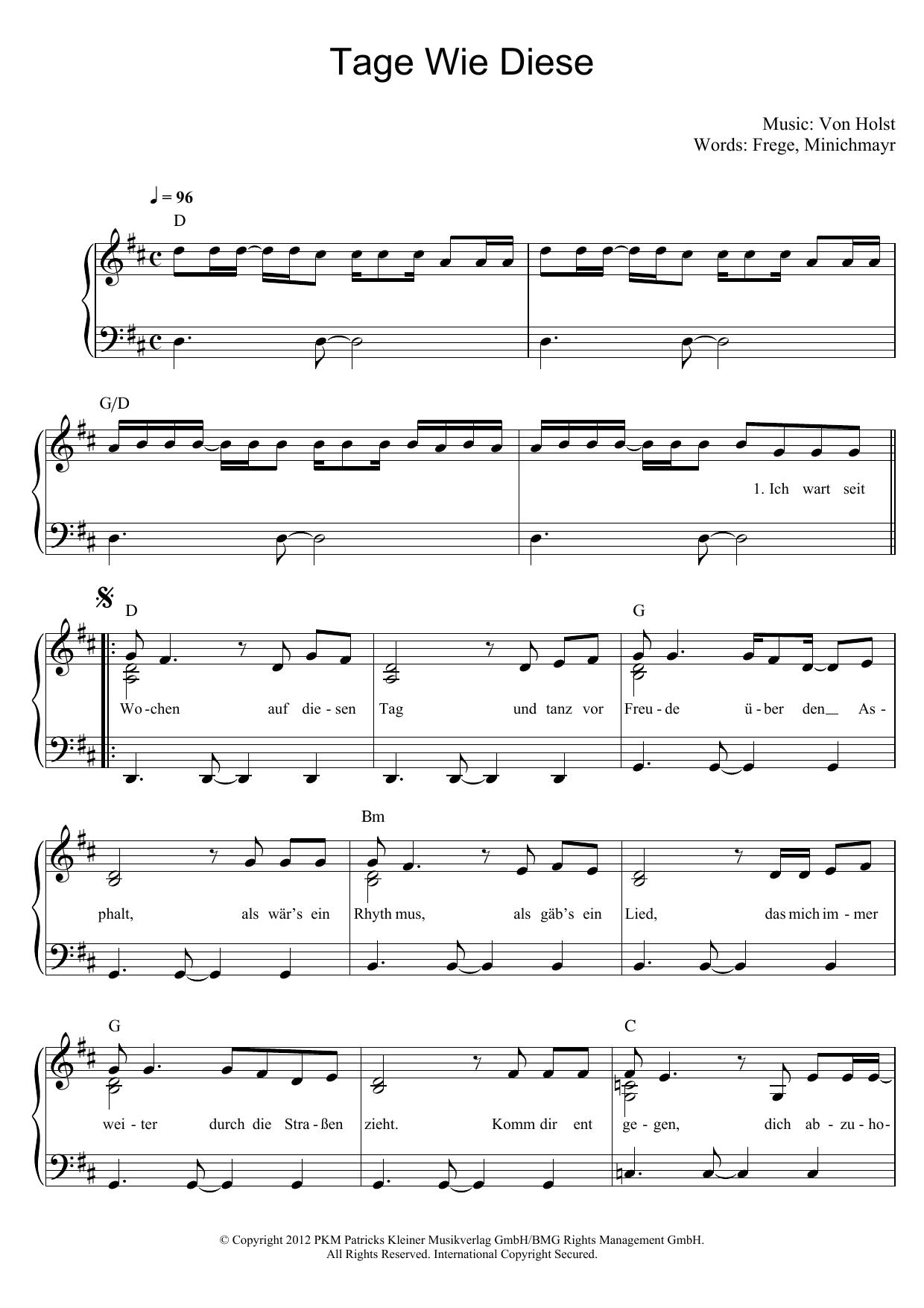 Tage Wie Diese Noten | Die Toten Hosen | Klavier & Gesang über Tage Wie Diese Noten Kostenlos