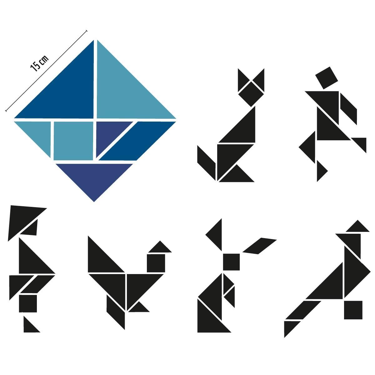 Tangram Magnetset Blautöne / Groovy Magnets in Tangram Figuren