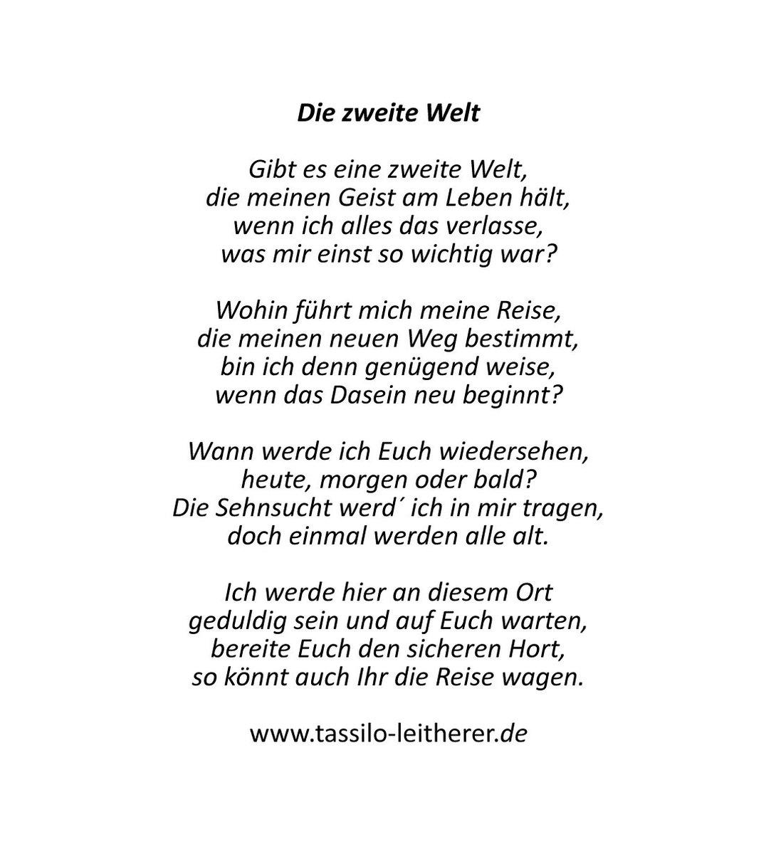 """Tassilo Leitherer På Twitter: """"gibt Es Sie, Die Zweite Welt verwandt mit Abschied Gedicht"""