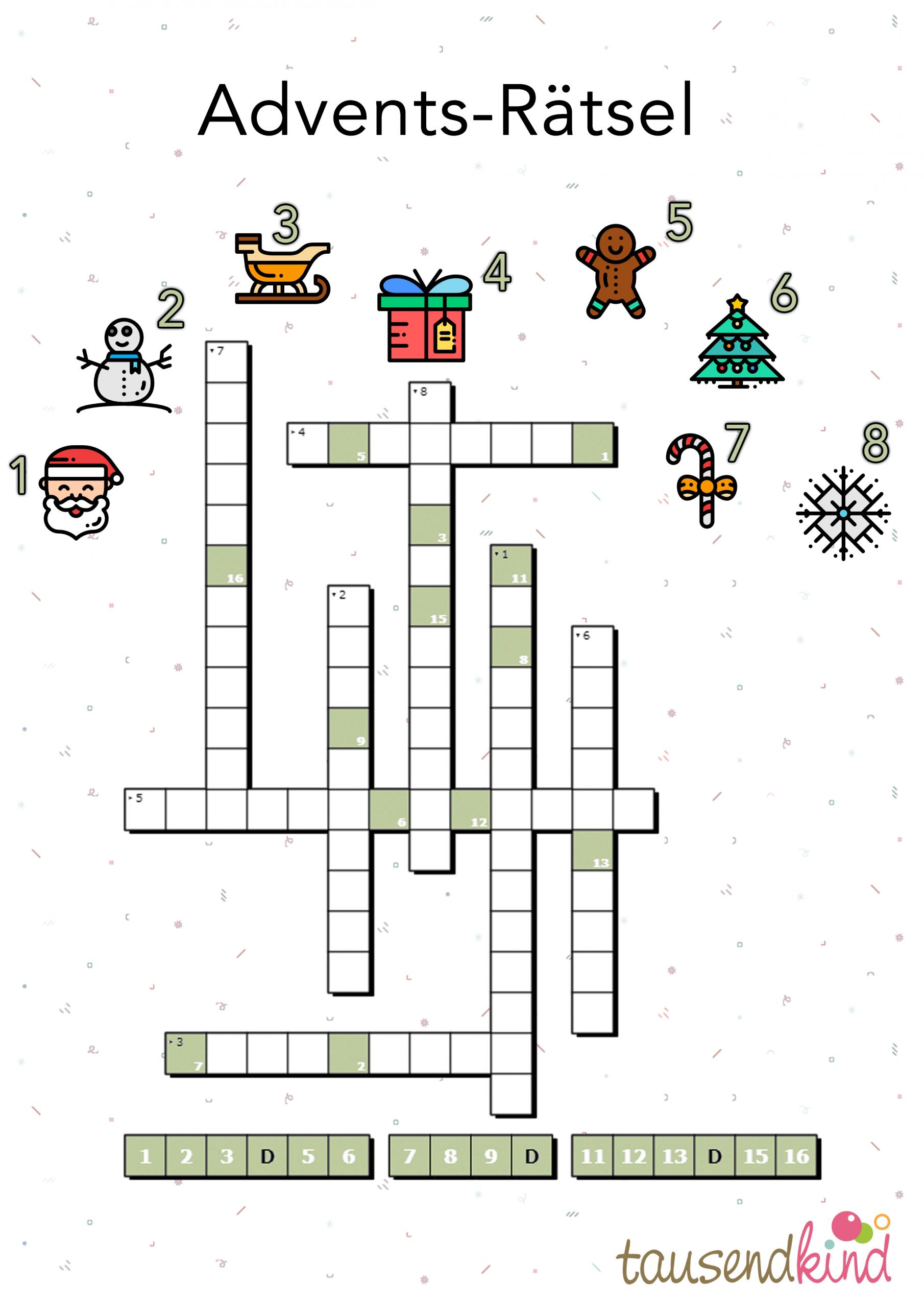 Tausendkind Adventsrätsel Zum 1. Advent - Jetzt Ausdrucken! ganzes Adventskalender Rätsel Zum Ausdrucken
