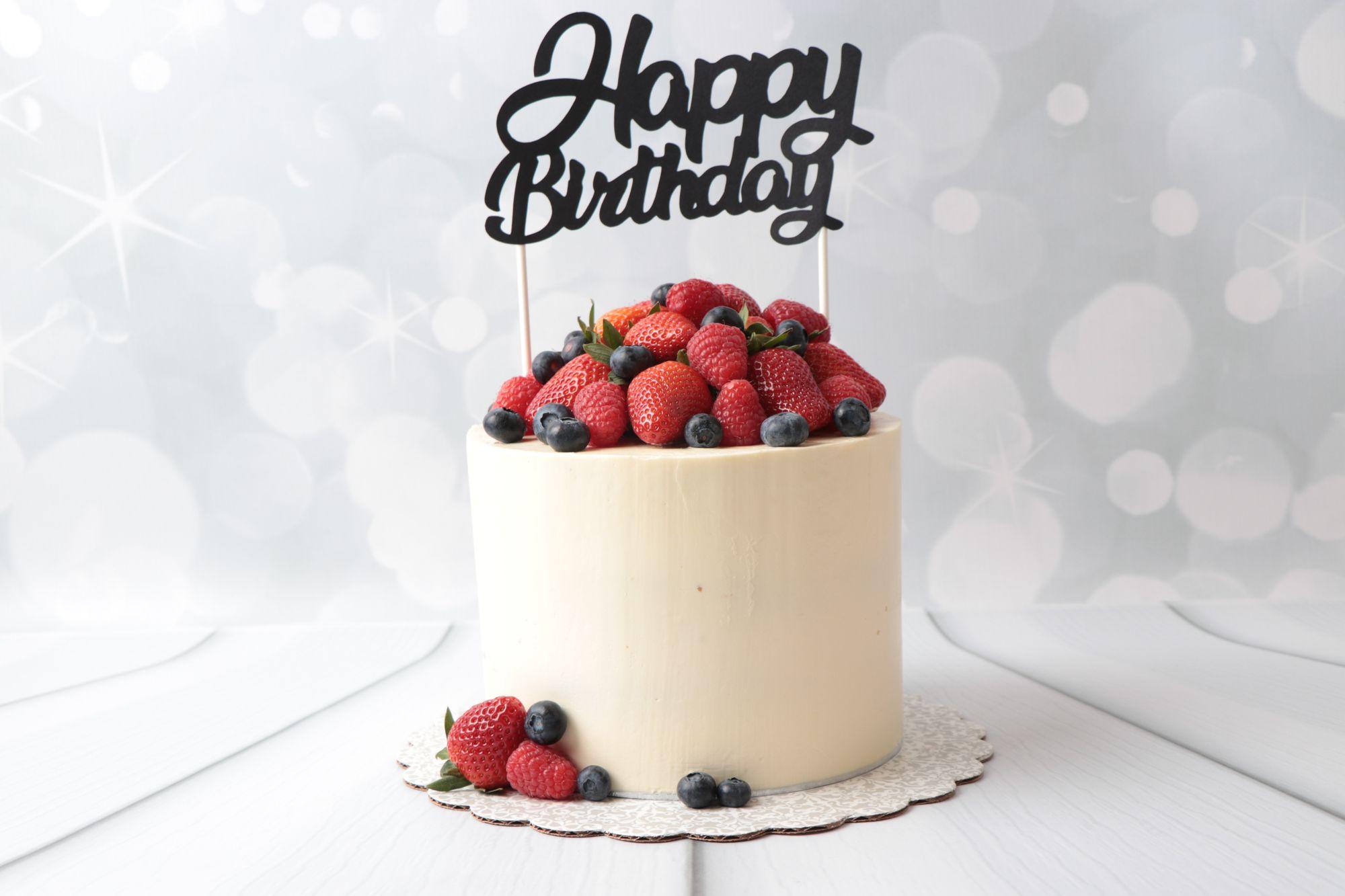 "Tb - Cake Decoration - Topper ""happy Birthday"" - Schwarz über Torte Happy Birthday"