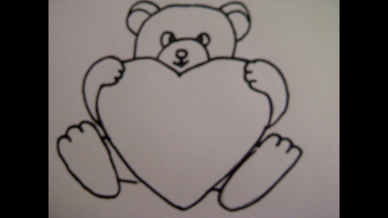Teddybär Mit Herz Zeichnen. Zeichnen + Basteln Zum Muttertag ganzes Liebesbilder Zum Zeichnen