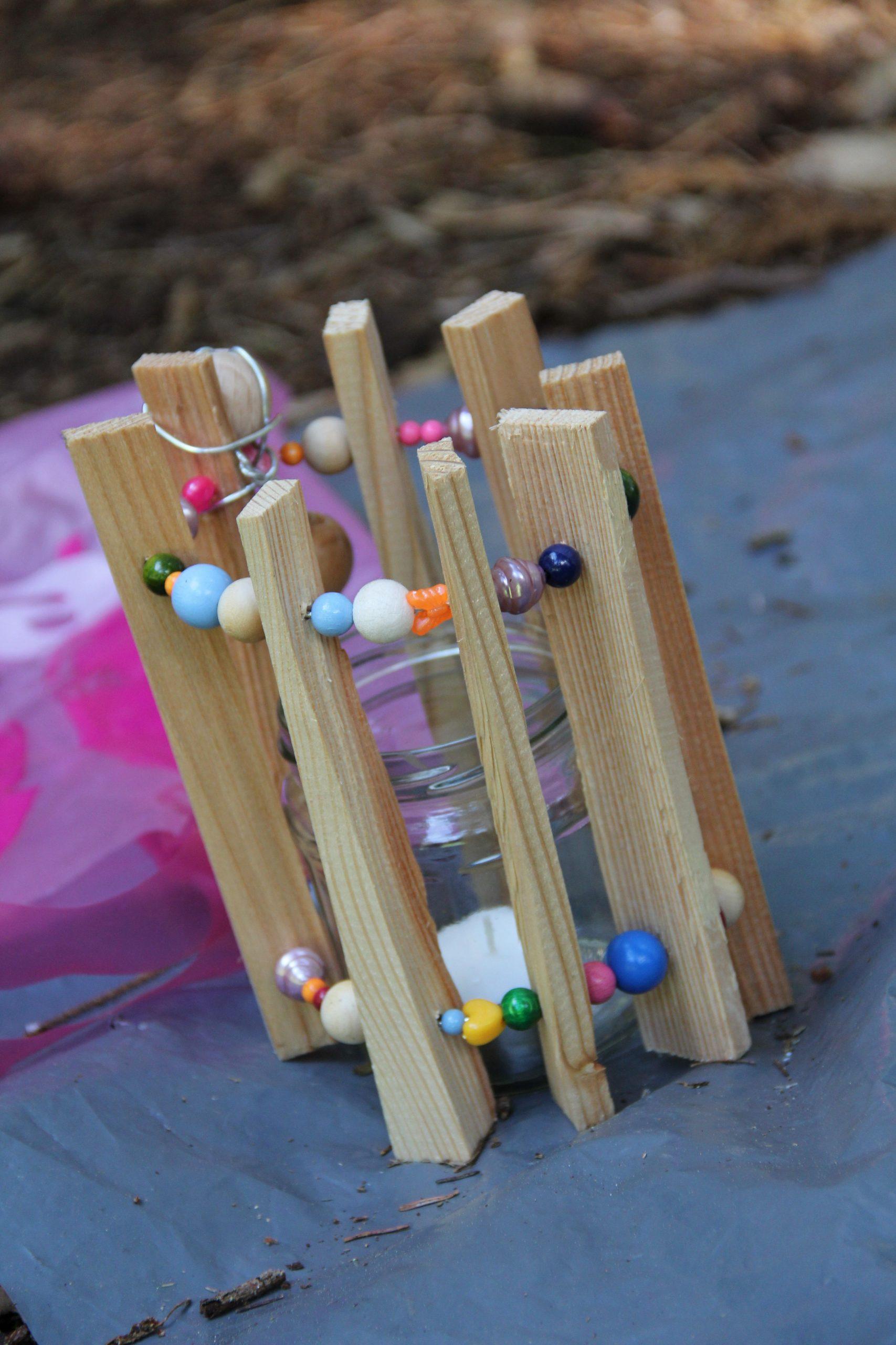 Teelicht Aus Holz Und Perlen Für Den #garten #diy (Mit innen Holzarbeiten Mit Kindern Selber Machen