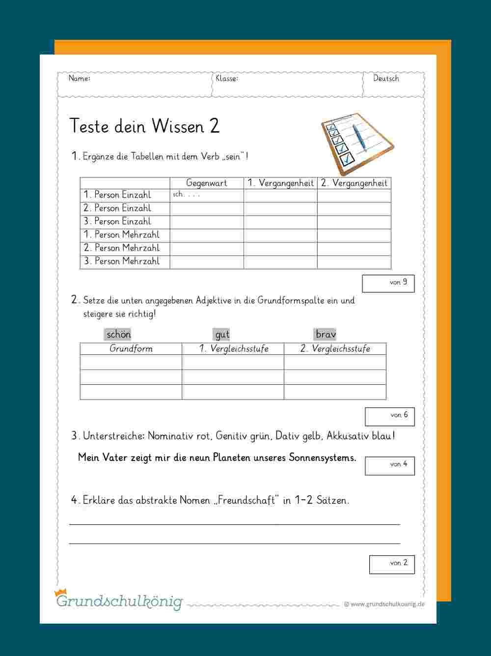 Teste Dein Wissen ganzes Übungsaufgaben Deutsch Klasse 4 Kostenlos