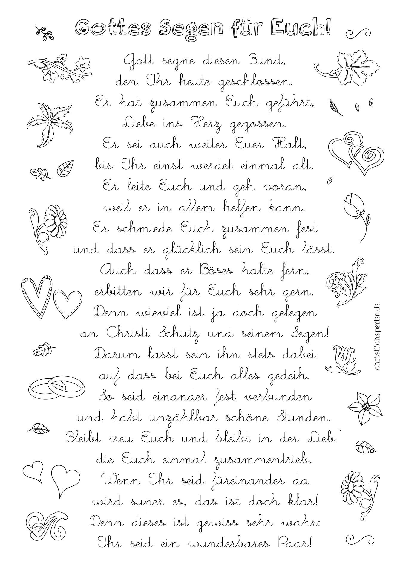 Texte Zur Hochzeit / Ehe   Christliche Perlen innen Kindergedichte Zur Goldenen Hochzeit