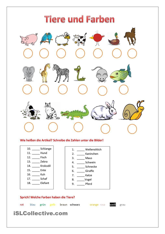 Tiere Und Farben   Tiere, Farben Lernen, Lernen in Arbeitsblatt Farben