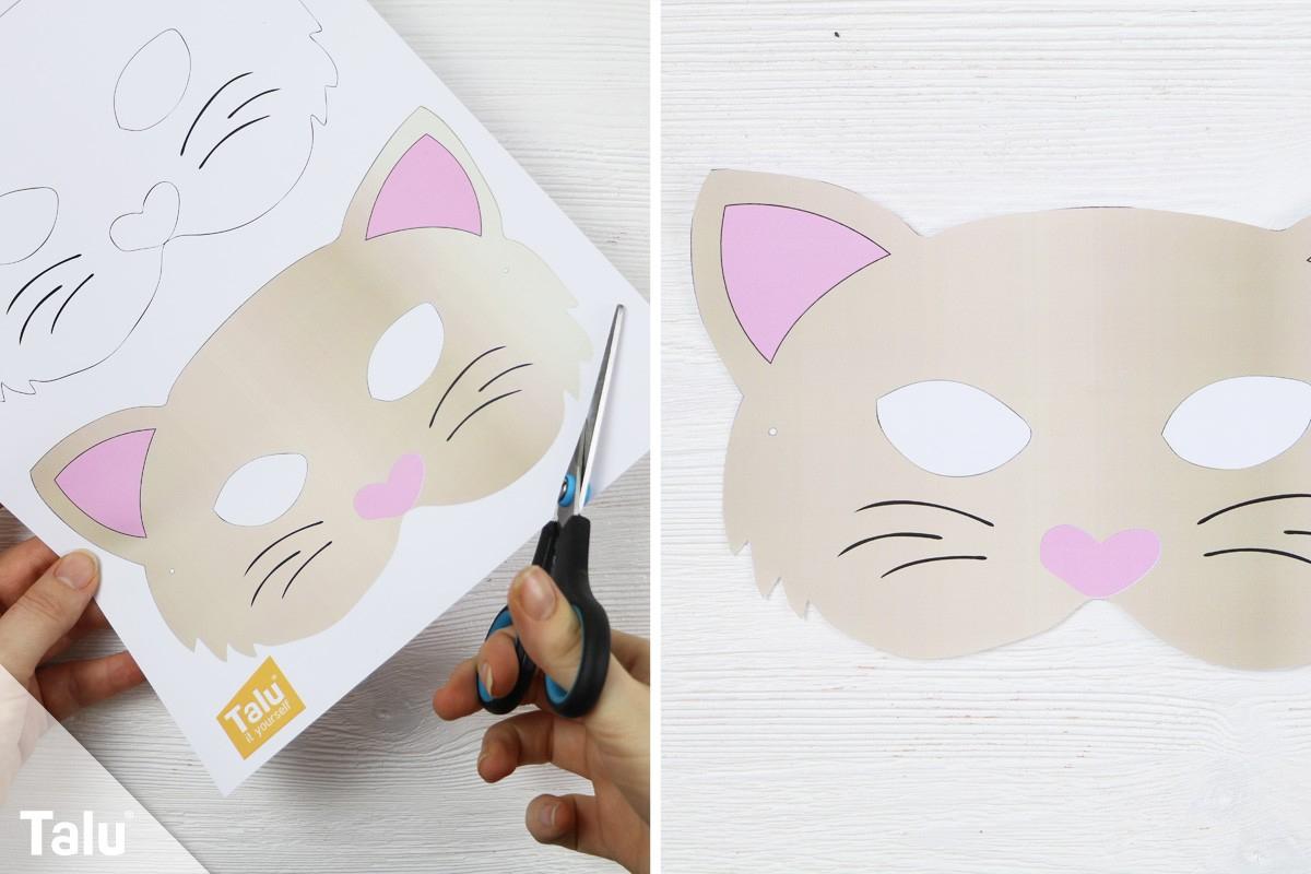 Tiermasken Basteln - Anleitung Mit Vorlagen - Talu.de bei Katzenmaske Basteln