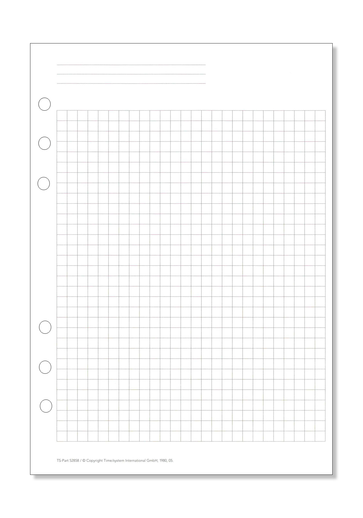 Time/system A5 Formblatt Kariertes Papier über Kariertes Blatt